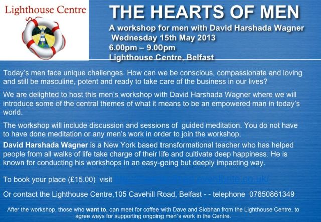 We are now taking bookings for this men's workshop with D. Harshada Wagner