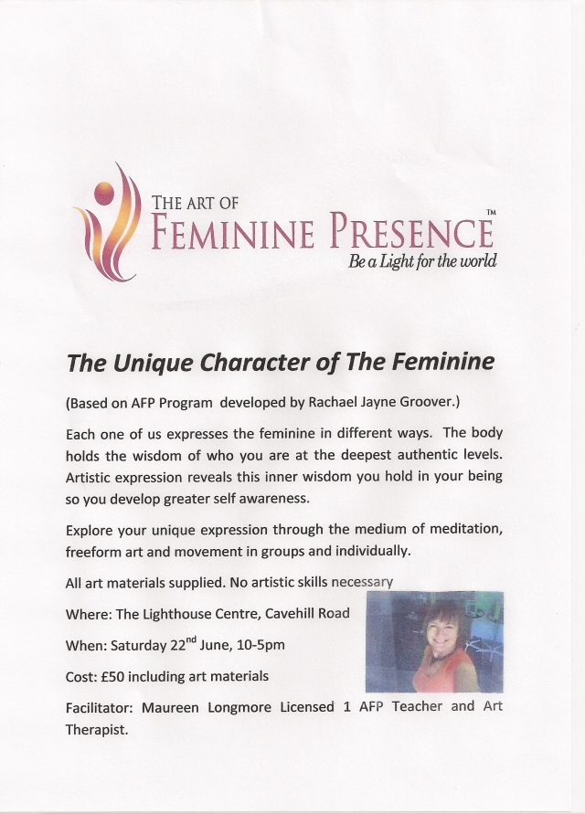 Exciting new workshop combines Art of Feminine Presence with art..check it out!!
