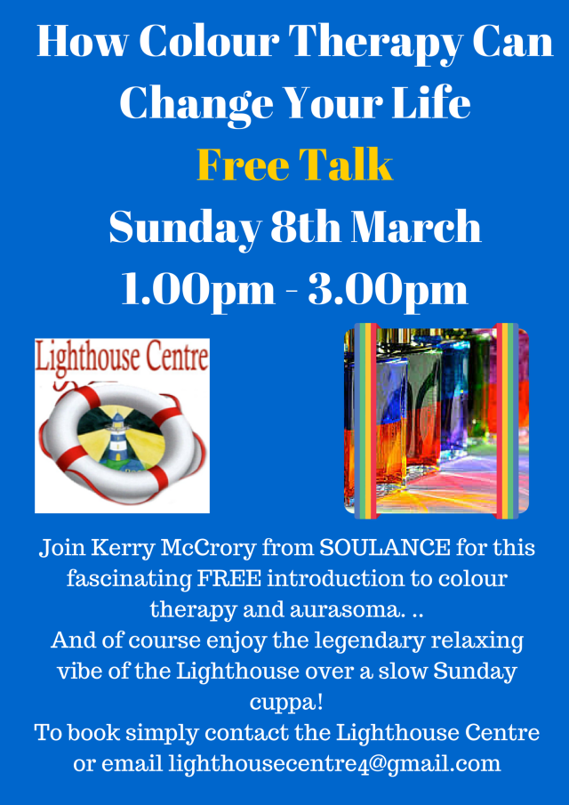 Just email lighthousecentre4@gmail.com to book your place on this FREE talk to find out how aurasoma/ colour therapy can change your life